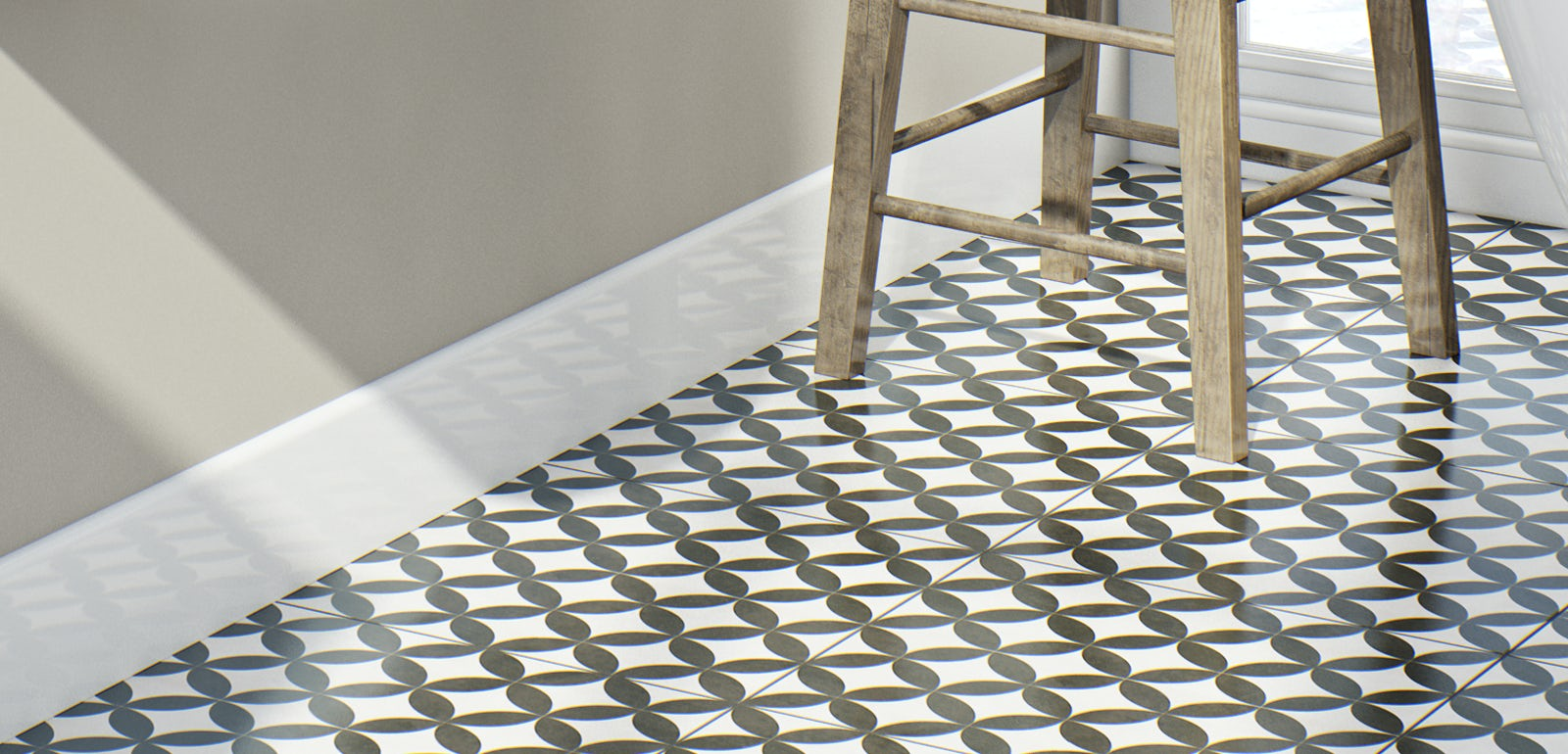 Vinyl bathroom flooring tiles