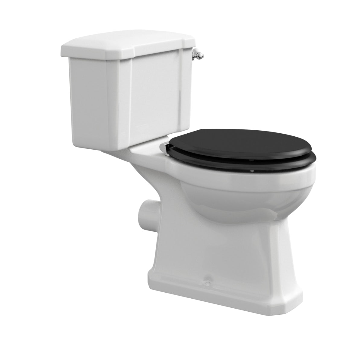 The Bath Co Camberley Close Coupled Toilet With Wooden Soft Close Seat Black