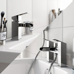 chrome waterfall basin and bath tap