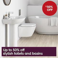 Up to 50% off stylish toilets & basins