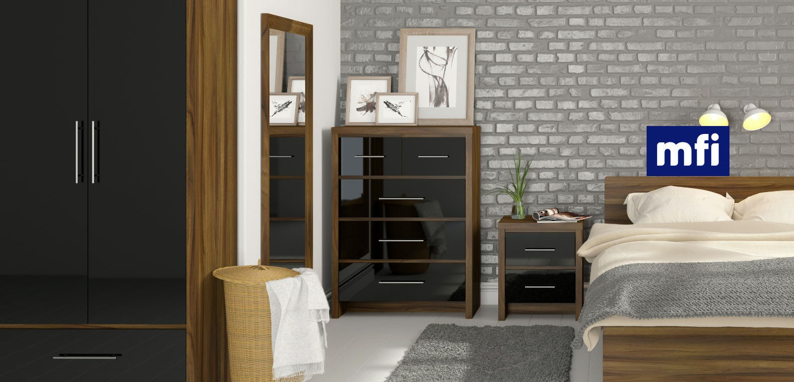 London Walnut And Black Gloss Bedroom Furniture