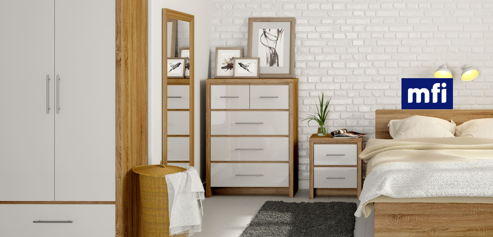 White gloss bedroom furniture for Bedroom ideas oak