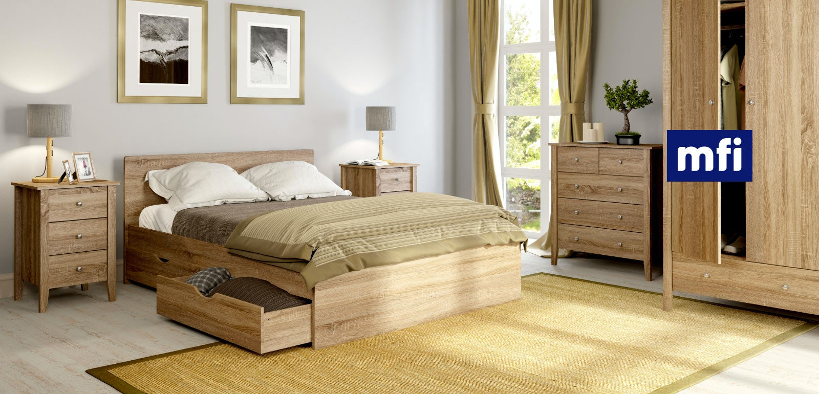 Sydney oak bedroom furniture for Oak bedroom sets