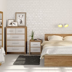 London Oak and White Gloss Bedroom Furniture