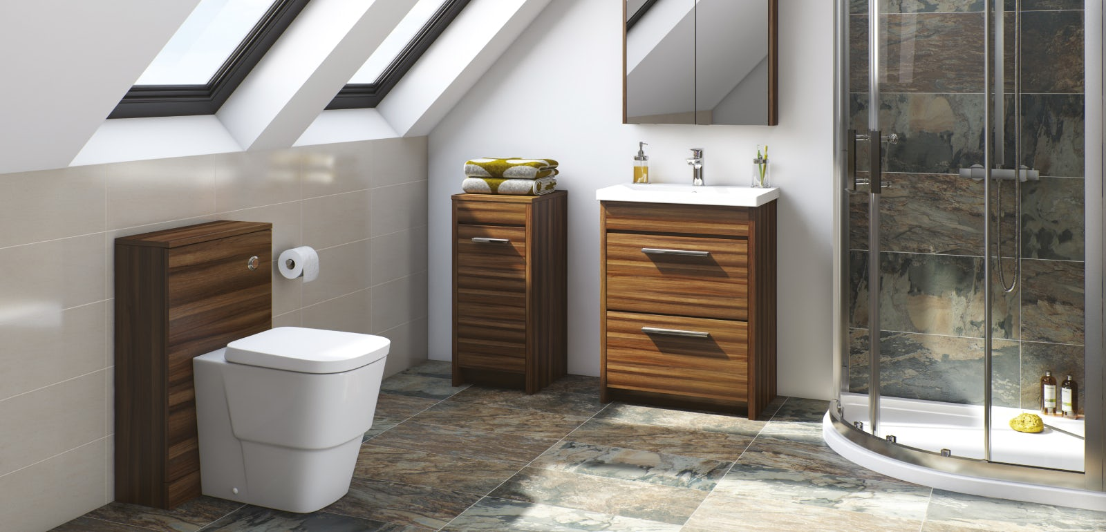 Walnut bathroom furniture uk - Fitted Bathroom Furniture