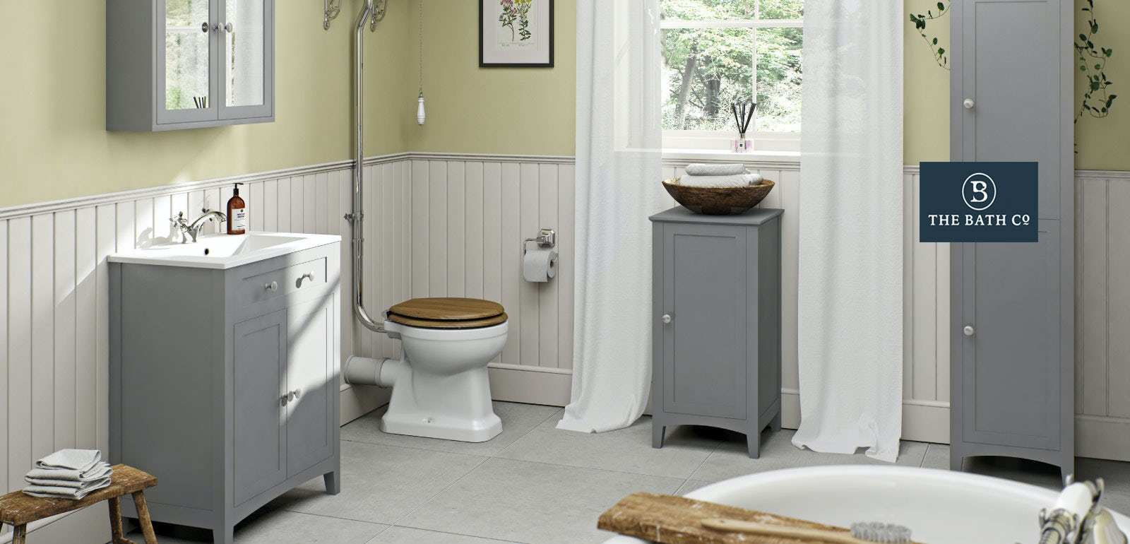 Camberley grey bathroom furniture for Grey white bathroom ideas