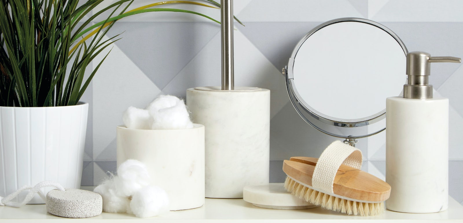 White marble accessory range