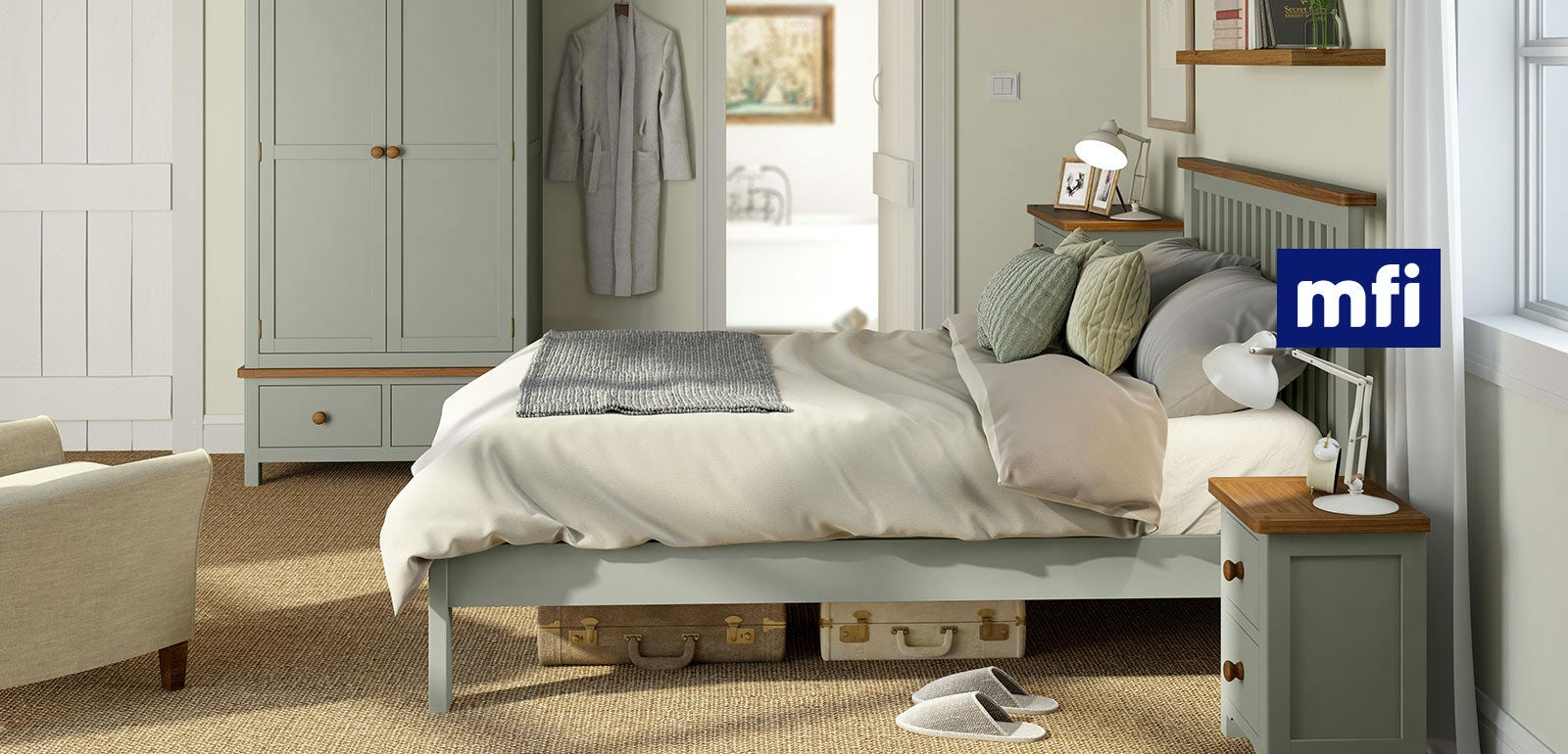 Rome oak and mellow sage bedroom furniture for Oak bedroom furniture 0 finance