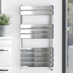 chrome wall hung heated towel rail