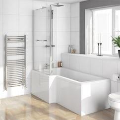 p shaped shower bath and towel rail