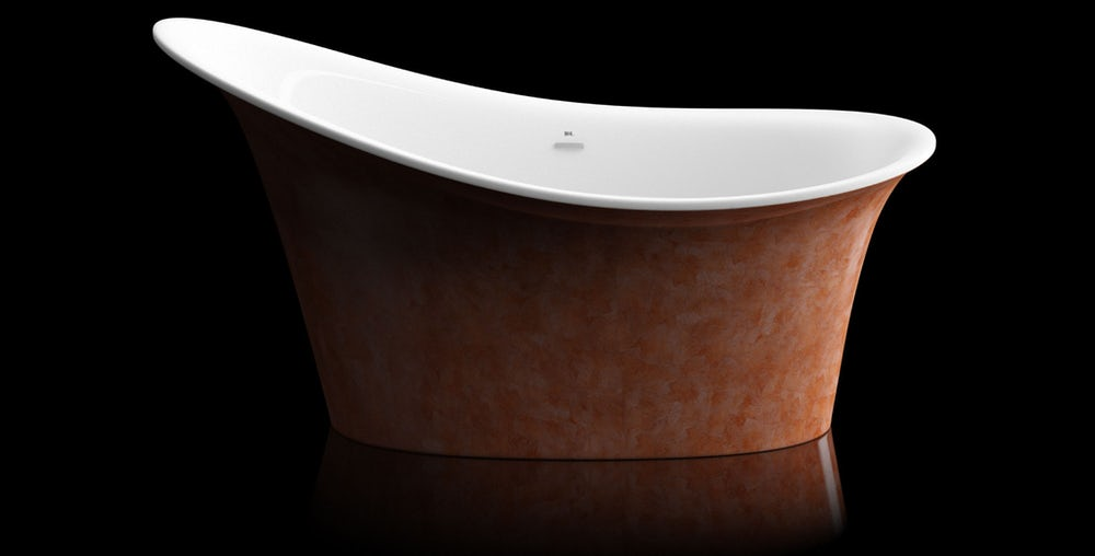 Copper red Fontana freestanding bath on a black background with reflection on a shiny floor; side on