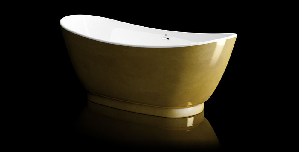Opulent gold leaf coated galvez freestanding bath on a black background with reflection on a shiny floor; angled