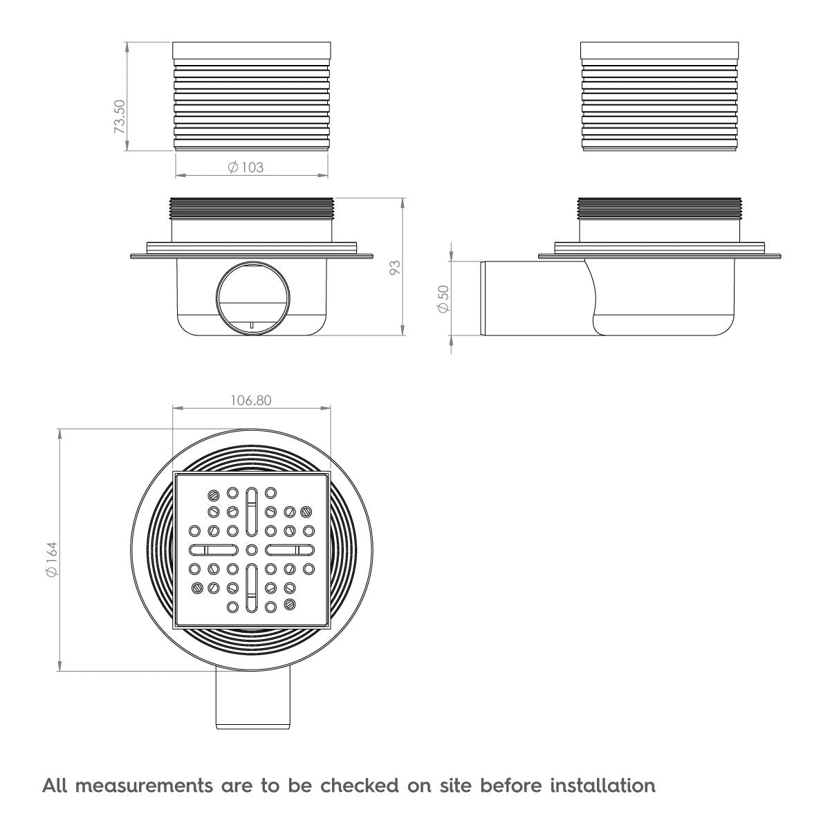 Dimensions for Wet Room Tray Waste and Installation Kit
