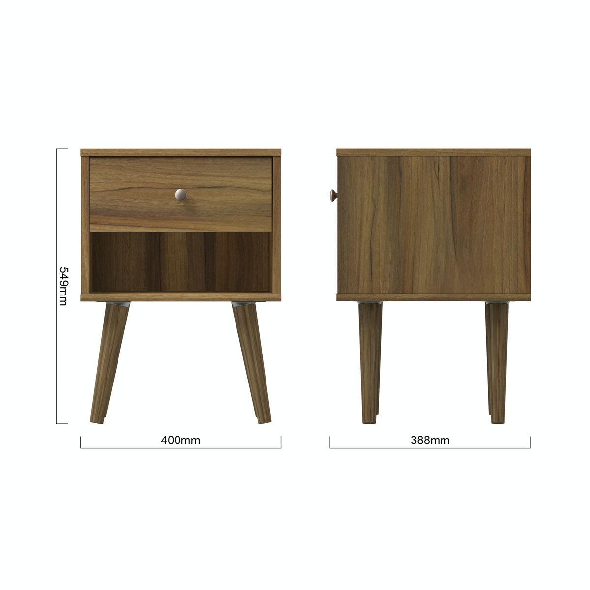 Dimensions for MFI Helsinki Walnut bedside