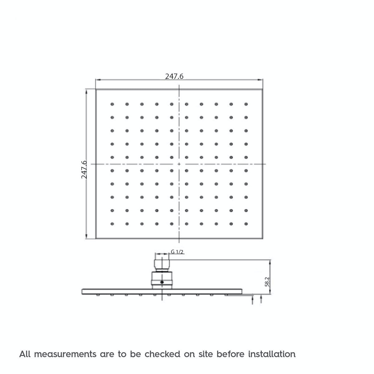 Dimensions for Tetra square shower head 250mm