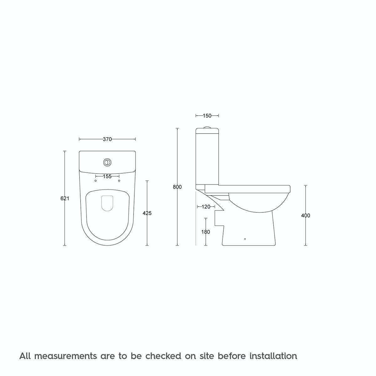 Dimensions for Energy close coupled toilet with soft close toilet seat