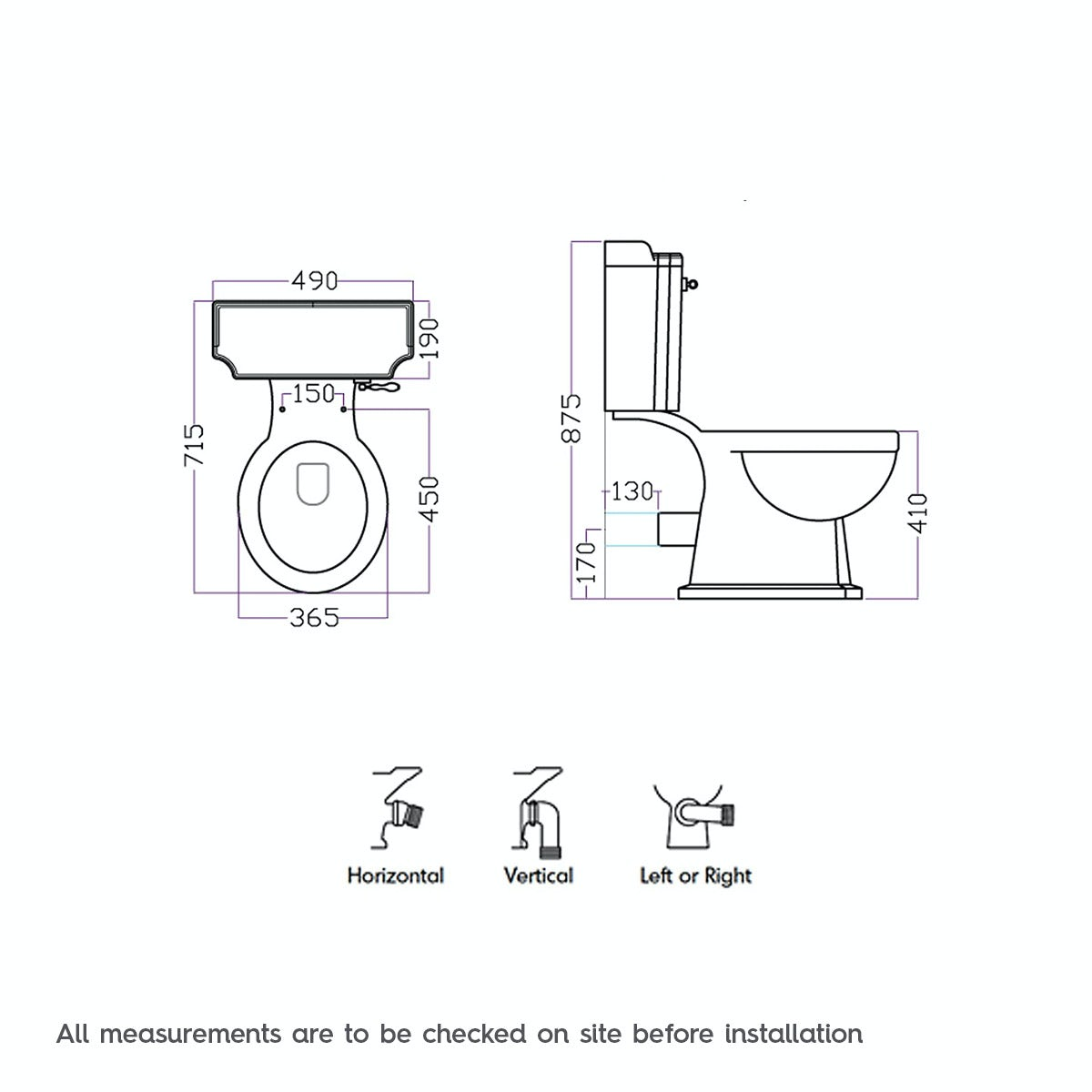 Dimensions for Winchester close coupled toilet with painted wood seat white