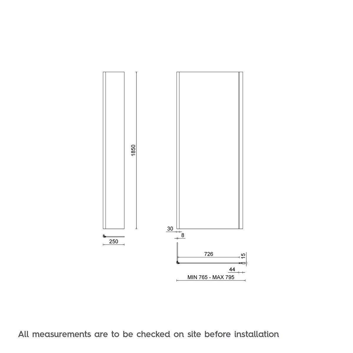 8mm Glass Panel 800