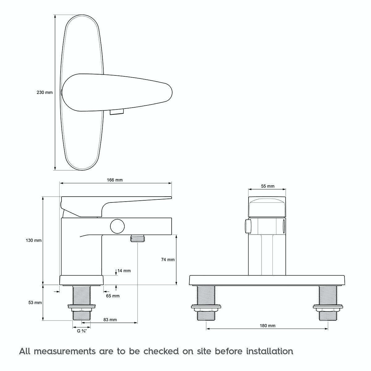 technical drawing for mira precision bath shower mixer tap