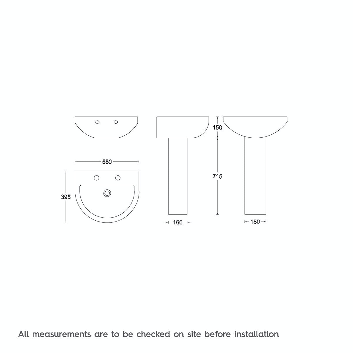Dimensions for 550mm basin