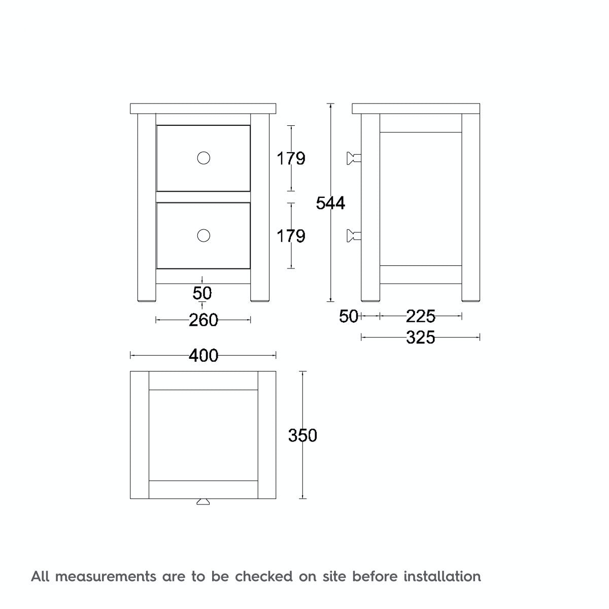 Dimensions for MFI Rome oak and mellow sage 2 Drawer Bedside