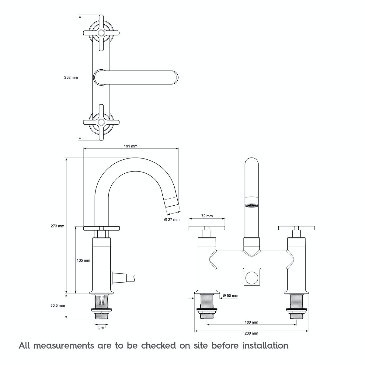 technical drawing for mira revive bath shower mixer tap