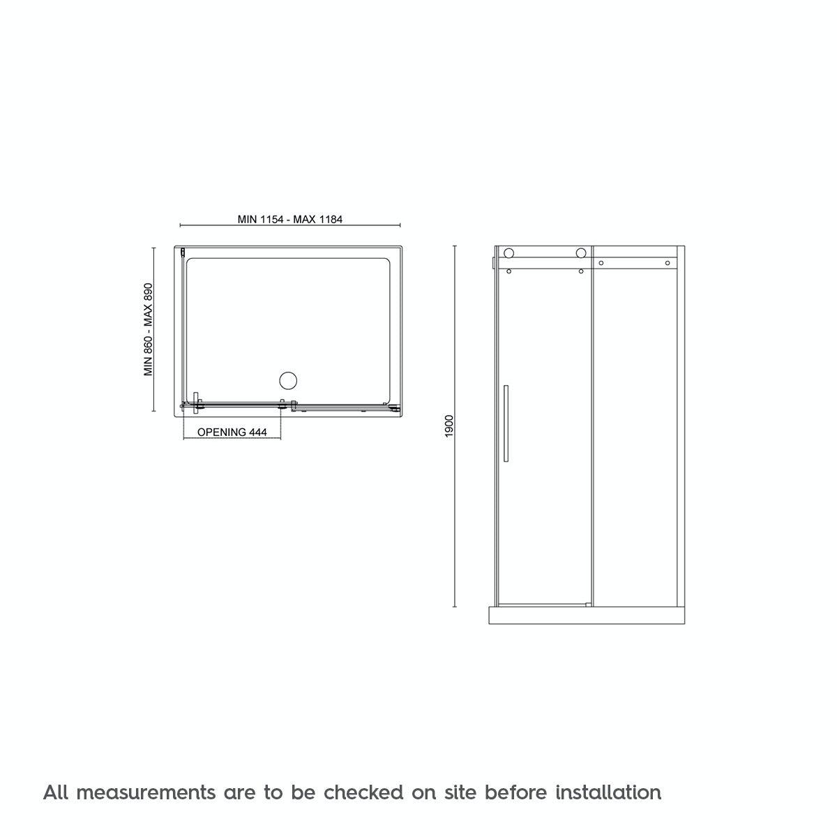 8mm Frameless Sliding Shower Enclosure 1200 X 900