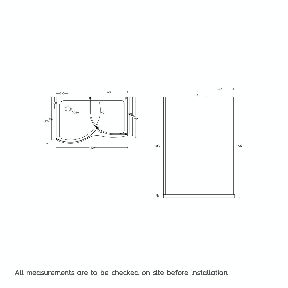 Dimensions for 6mm Curved Walk In Shower Enclosure 1400 x 900