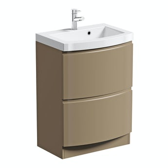 Mode Curvaceous mocha vanity unit with basin 600mm