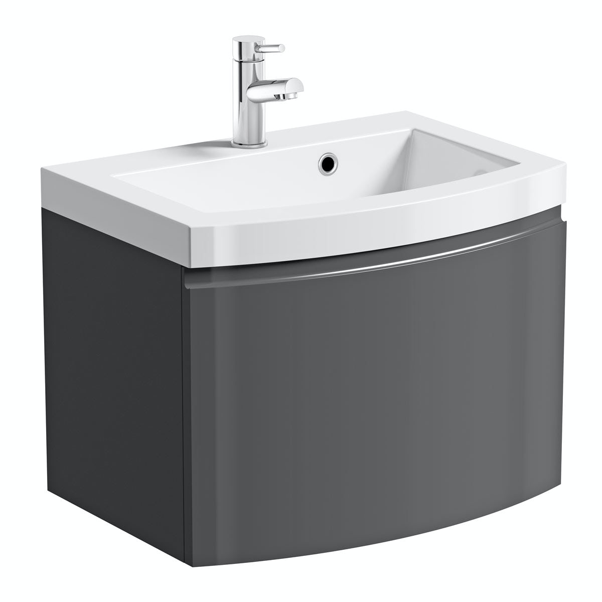 Curvaceous Slate 600 Wall Drawer Unit   Basin. Mode Curvaceous slate wall hung vanity unit with basin 600mm