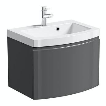 Mode Curvaceous slate wall hung vanity unit with basin 600mm