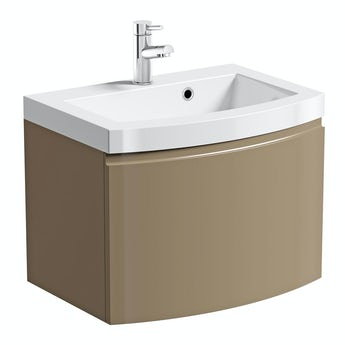 Mode Curvaceous mocha wall hung vanity unit with basin 600mm