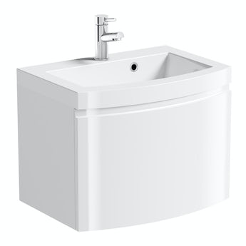 Mode Curvaceous snow wall hung vanity unit with basin 600mm