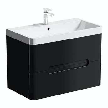 Mode Planet black wall hung vanity drawer unit and basin 800mm