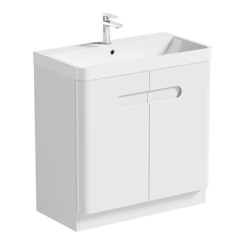 Mode Planet white vanity door unit and basin 800mm