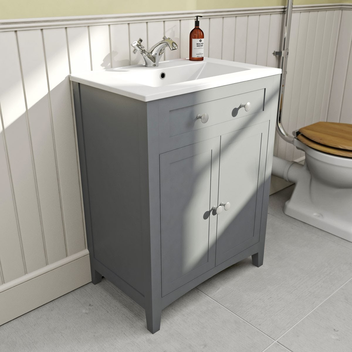The Bath Co Camberley Grey Vanity Unit With Basin 600mm