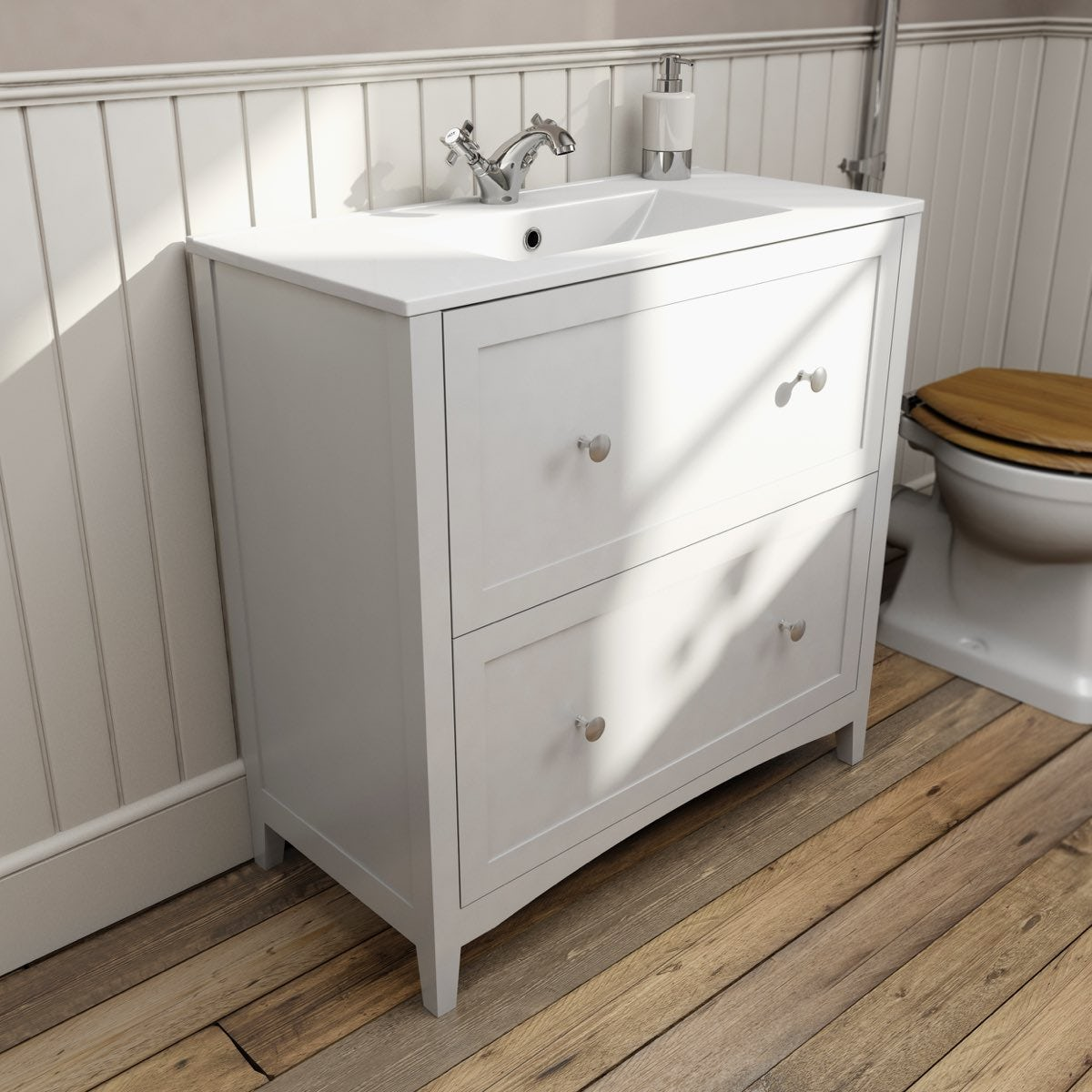 The bath co camberley white vanity unit with basin 800mm for Bathroom cabinets 800mm high