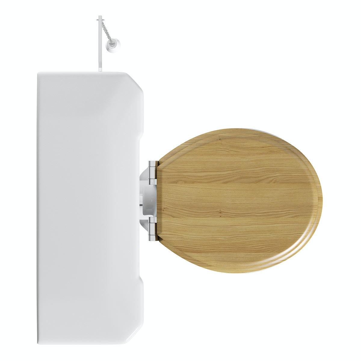 camberley high level toilet inc luxury solid oak seat camberley oak 2 door