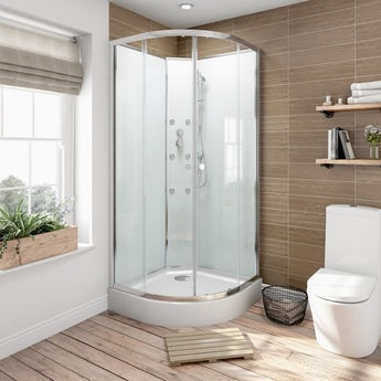 Glass backed quadrant shower cabin 900 x 900
