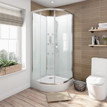 Glass backed quadrant shower cabin 900 x 900