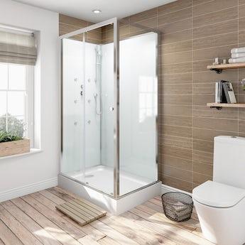 Glass backed rectangular shower cabin 1200 x 800