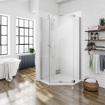 Mode luxury 8mm right handed frameless hinged pentagonal shower enclosure 900 x 900