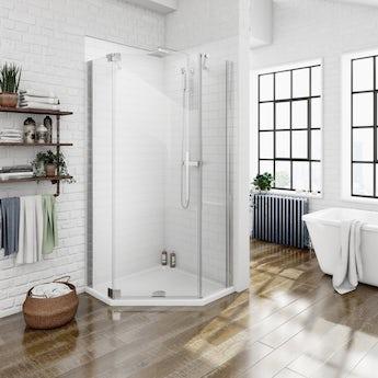 Luxury 8mm left handed frameless hinged pentagonal shower enclosure 900 x 900 offer pack