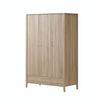 MFI Sydney oak 3 door, 2 drawer wardrobe