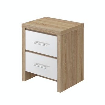 MFI London oak and white gloss 2 drawer bedside