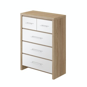 MFI London oak and white gloss 2 over 3 drawer chest