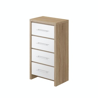 MFI London oak and white gloss 4 drawer tall chest