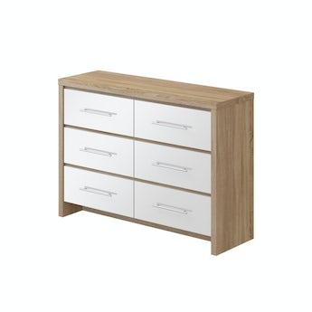 MFI London oak and white gloss 3 + 3 drawer chest