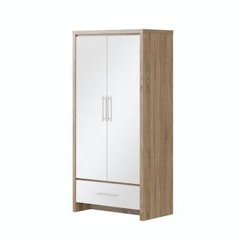 MFI London oak and white gloss 2 door, 1 drawer wardrobe