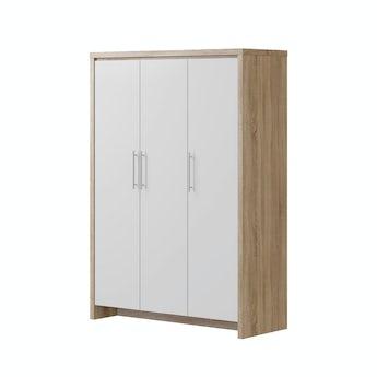 MFI London oak and white gloss 3 door wardrobe